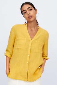Zara Linen Yellow Button Down Skipper Collar Shirt - Size L