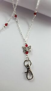 Silver Butterfly & Red Crystals ID Badge Holder Name Tag HANDMADE Beaded Lanyard