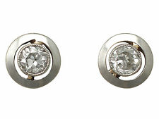 0.36ct Diamond, Platinum Set, 9ct Yellow Gold Earrings - Antique Circa 1920