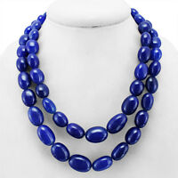 TRUELY AMAZING 996.00 CTS EARTH MINED 2 LINE BLUE SAPPHIRE OVAL BEADS NECKLACE