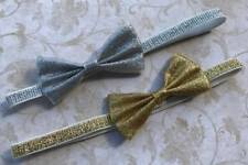Silver or Gold Metallic Baby Bow Headband