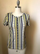 Women's Top Short Sleeve White Yellow Dark Navy Blue Mod 60s Vtg Retro Size S