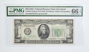 FR 2054-D $20 1934 DGS MULE Federal Reserve Note PMG 66 EPQ Consec *774
