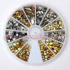 Borchie metalliche miste strass ricostruzione unghie gel nail art + omaggio