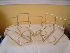 5 X TRIO CUP SAUCER & PLATE DISPLAY STANDS GOLD COLOURED METAL