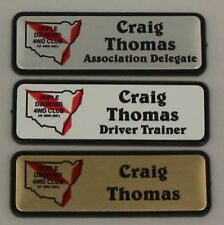 10 WORK NAME BADGES - magnet back metal finish colour full colour images metal