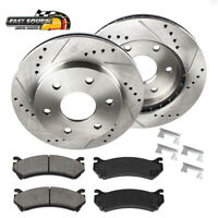 For Escalade Suburban Yukon Front Drill And Slot Brake Rotors & Ceramic Pads
