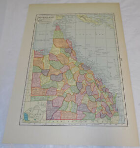 1905 Antique COLOR Map//QUEENSLAND, AUSTRALIA, & OCEANIA AND THE PACIFIC