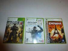 3 Lot Xbox 360 Games,Gears of War 3, Endwar & Red Faction Amageddon B254
