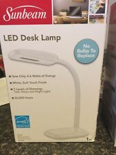NEW SUNBEAM FLEXIBLE NECK LED DESK Bedside 3 Settings Task Relax Night Light
