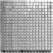 Mosaik silber silver Edelstahl glänzend Fliesenspiegel Küche 129-15G | 10Matten