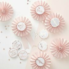 Pink & Rose Gold Team Bride Party Badges Rosette Hen Night Party Accessories x 6