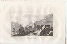 gravure Vue du village du Simplon 1835