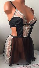 New VS Babydoll Bra Apron Skirt Chantilly Lace Black & White Faux Leather #1210
