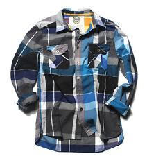 RVLT REVOLUTION BOWIE Shirt Uomo Camicia Tg S Blu Grigio a Quadri Tempo Libero Manica Lunga