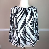 Chicos 3 Womens Top Pleated Black White Long Sleeve Cold Shoulder Size XL