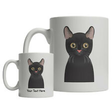 Bombay Cat Cartoon Mug - Personalized Text Coffee Tea Cup (Black Cat)