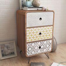 Brown Bedside Cabinet Retro Wood & Steel 3 Drawers Storage End Table Bedroom NEW