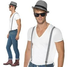 Adult SKA Two Tone Fancy Dress Trilby Hat & Braces Checkered New by Smiffys
