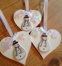 3 X Snowman Christmas Decorations Handmade Shabby Chic Real Wood Hearts