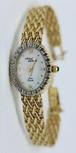 "Vintage 14K Yellow Gold Michael Anthony Quartz Wrist Watch Diamond Bezel 6.5"""
