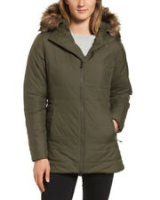 The North Face Women's Green Harway Parka Hooded Jacket Faux Fur Size Large