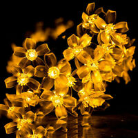 50 LED Solar Cherry Flower Xmas String Lights Fairy Wedding Party Garden Decor