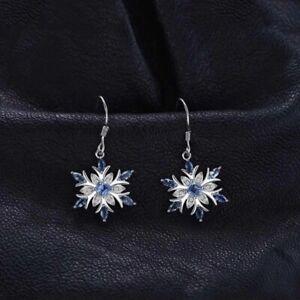 925 Sterling Silver Aquamarine & Topaz Snowflake Drop Earrings UK Seller