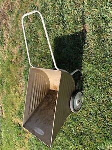 Vintage Metal Garden Cart Advertising Sign Lawn wheel Barrow rustic