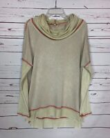 Kori America Boutique Women's L Large Beige Cowl Neck Spring Tunic Top Shirt NEW