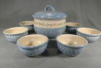 EAST TEXAS POTTERY Marshall Texas Hand-Painted Soup Tureen and 6 Bowls Blue ANB
