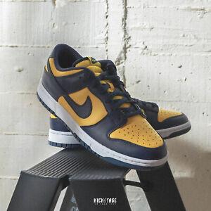 Nike Dunk Low Retro Michigan 2021 Blue Navy Yellow White Mens Sneaker DD1391-700