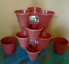 New - 6 piece - 4 Stackable Planters And 2 Matching Self Draining Pots - Garden