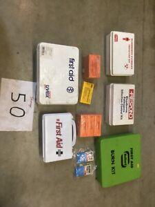 Lot Of First Aid Kits, Bandage, Bloodborne Pathogen Protection Kit, Burn Kits