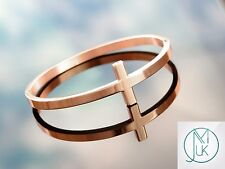 Stainless Steel Rose Gold Tone Sideways Cross Cuff Bangle Bracelet Gift Pouch