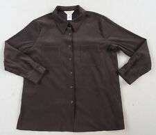 Norm Thompson Women's Stretch Polyester Suede L/S Button Down Brown Shirt - XL