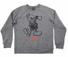 Vintage Obey Skeleton Gray Pullover Sweatshirt Shirt Size Medium M USA Made