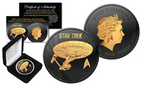 STAR TREK 2016 Tuvalu 1 oz Pure Silver Coin BLACK RUTHENIUM & 24KT Gold Ltd 500