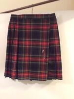 Womens Next Too 100% Pure New Wool Red Tartan Mini Kilt Size 14