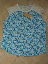 bd4ffdca04 Beacon Cove Size 20 Blue/White Floral Cotton Top lace inset shoulder BNWT