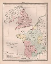 1898 ANTIQUE MAP ENGLAND AND FRANCE AFTER TREATY OF BETIGNY1360