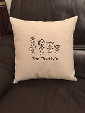 Personalised Family Laura Ashley Natural Austen Fabric Cushion Cover Embroidered