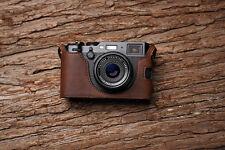 Genuine Real Leather Half Camera Case Bag Cover for FUJIFILM X100F Brown