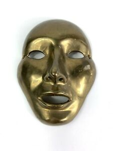 Vintage Solid Brass Mardi Gras Mask Art New Orleans Basiris Comedy And Tragedy
