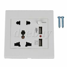 86x86mm White 5 Hole AC Power Outlet & Switch Control & Dual-USB Wall Socket