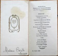 Menu: French 1935 Wedding - Salons Pignarre, 99 Rue d'Alesia, Paris, France