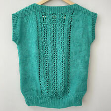 Hand Knitted Tank Top Sleeveless Jumper Green Retro 80s 90s Vintage Style UK 12