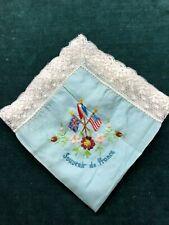 """WWI Silk & Lace """"Souvenir de France Handkerchief"""