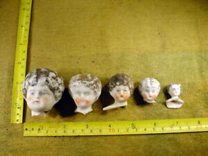 5 x excavated vintage victorian faded painted doll head age 1860 Hertwig A 15472