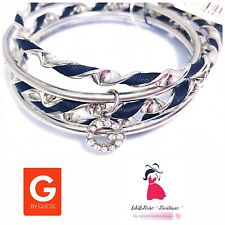 G by Guess Bangle Charm Bracelet Set, Silver Toned Fashion Jewelry NEW